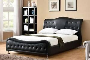 QUEEN SLEIGH CAMEL HEADBOARD WITH BONDED LEATHER WITH DIAMONDS