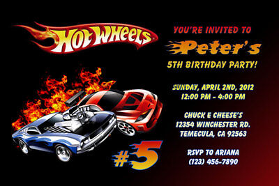 Hot Wheels Invitations - Personalized - Birthday Party - Shipped or Printable](Hot Wheels Invitations)