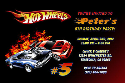 Hot Wheels Invitations - Personalized - Birthday Party - Shipped or Printable