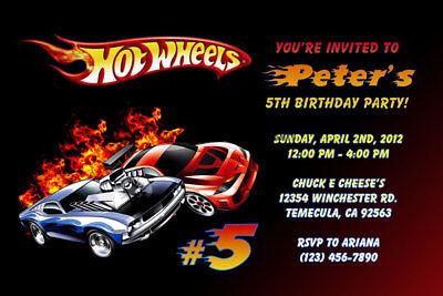 Hot Wheels Invitations - Personalized - Birthday Party - Shipped or Printable - Hot Wheels Birthday Invitations