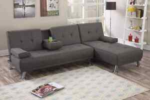 Manhattan Sofa Bed with Chaise (Ash) Dakabin Pine Rivers Area Preview