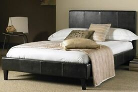BRAND NEW 3ft SINGLE / 4ft6 DOUBLE / 5ft KINGSIZE FAUX LEATHER BED FRAME WITH CHOICE OF MATTRESSES