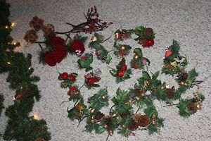 Christmas garland with lights/bows and many Christmas picks Belleville Belleville Area image 2