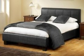 NEW DOUBLE BED / KINGSIZE BED LEATHER BED SET + MEMORY MATTRESS + HEADBOARD 3FT 4FT 4FT6 Double 5FT