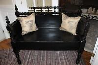 Black Bench made from Antique headboard