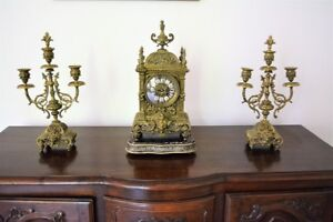 Antique French Bronze Clock and Garnitures