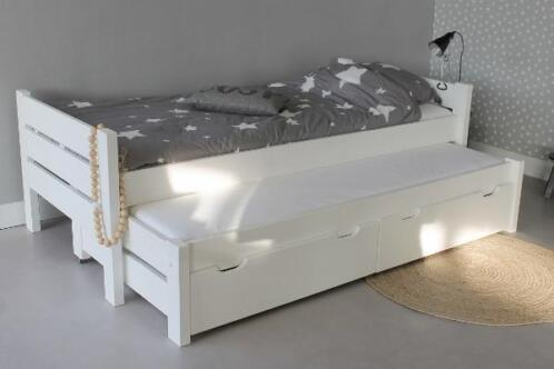 TIENERBED COMBI 90x2002 bedden in wit + bodems + laden (TIP)
