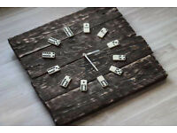 Pallet Wood Wall Clock Domino Art Industrial Vintage Rustic Retro Chabby Chic