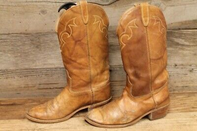 ACME MENS BROWN MARBLED LEATHER COWBOY BOOTS SZ 9.5 D