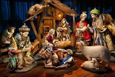 Member's Mark Fabric Nativity Porcelain Statues Set Vintage Large 12 Piece Rare