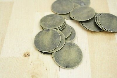 100 Blank Stamping Tags Discs Antique Bronze Tone 20mm Charms Findings J22462
