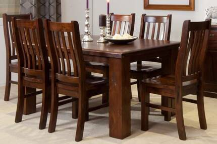 ✪ GRACEFUL✪ RUSTIC 1800 7PCE DINING SUITE Villawood Bankstown Area Preview