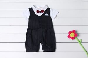 Baby Boy Wedding Tuxedo Suit Striped Bowtie Romper Bodysuit Outfit 0-18M NEWBORN