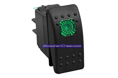 Green Off/On/On 3 Position Rocker Switch 6 Pin Lighted Boat Marine Waterproof