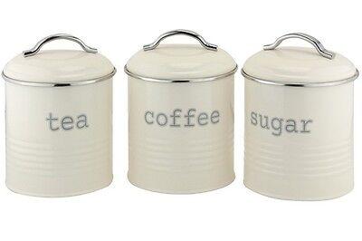 Set of 3 Airtight Tea Sugar and Coffee Storage Canister Jars, Cream