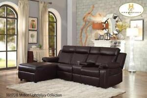 Brown Leather Sectional with Push - Back Chaise (BD-2485)