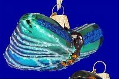 BLUE BUTTERFLY OLD WORLD CHRISTMAS GLASS INSECT NATURE GARDEN ORNAMENT NWT 12060