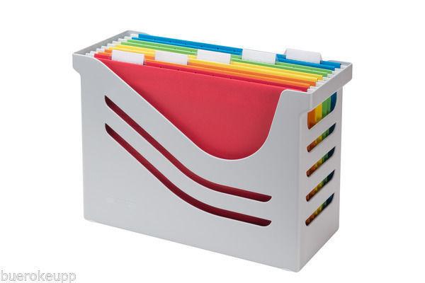 JALEMA Office-Box Re-Solution Hängemappen-Box grau INCL. 5 MAPPEN Hänge-Box NEU