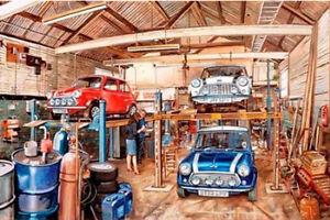 austin morris mini cooper classic car garage workshop
