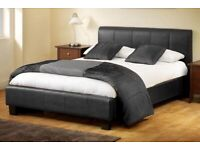 In Black/White/Brown----Leather Normal Bed With Semi Ortho Mattress