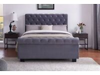 Luxurious Velvet Sleigh Bed