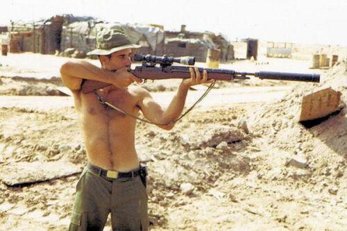 Vietnam War U.S. Military Sniper In Training Hazey Glossy 8x10 Photo