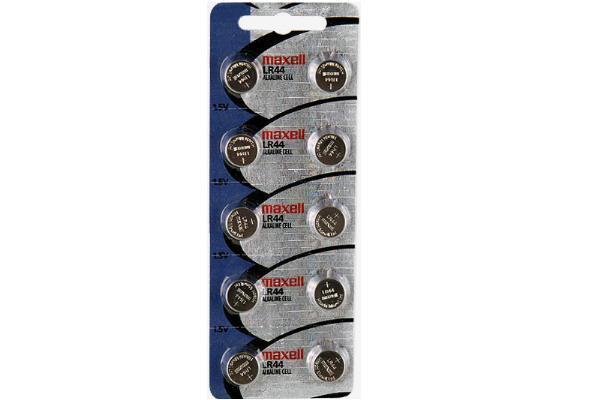 10-Pack LR44 Maxell Alkaline Button Batteries