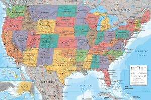 MAP OF UNITED STATES OF AMERICA USA POSTER