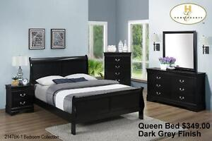 Queen Sleigh Bed $299.00 Cherry/White/Black/Dark Grey