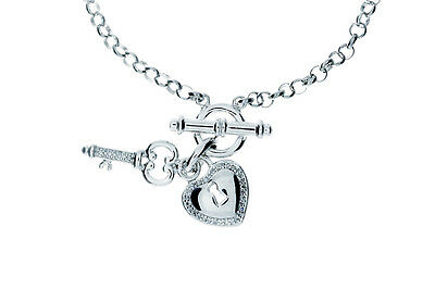 (Sweet and Petite Diamond and Sterling Silver Charm Bracelet with Heart & Key)