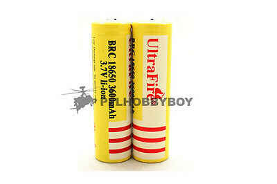 2 x UltraFire 18650 3.7v 3600mah Li-ion Battery for XML X-ML T6 U2 flashlight on Rummage