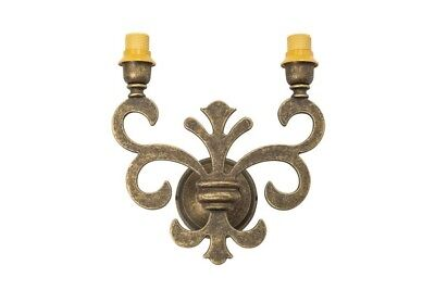 Wall Lamp Brass Burnished Florentine Lily 2 Lights
