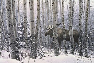 A Walk In The Woods Stephen Lyman Moose Trees Art Print Poster 24x36