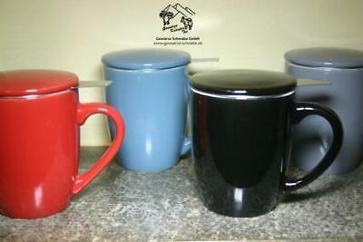 Teetassen mit Sieb und Deckel in 4 Farben