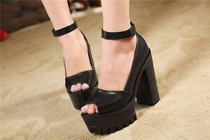 Women Pumps Platform Strappy Buckle Stiletto High Heels Sandals Shoes Hot Sale