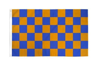 Checkered Blue & Orange Flag Banner 3' x 5' Polyester