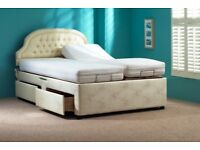 Two way reclining dual double bed with massage functionality