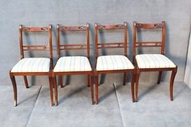 Set of 4 mahogany dining room table chair upholstered in a blue cream upholstery