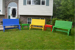 Colourful Garden Benches and Tables