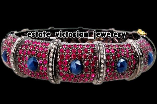 Amazing 5.15ct Rose Cut Diamond Gemstone Silver Vintage Bracelets Bangle Jewelry