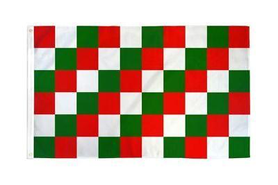 Checkered Red Green & White Flag Banner 3' x 5' Polyester