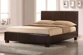 BRAND NEW/DOUBLE LEATHER BED WITH ROYAL FULL ORTHOPAEDIC MATTRESS