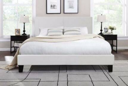 6xbrand new modern white leather double size bed frame used mattr