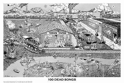 100 Dead Songs Poster! Grateful Dead Hidden Songs Small Town Rock -