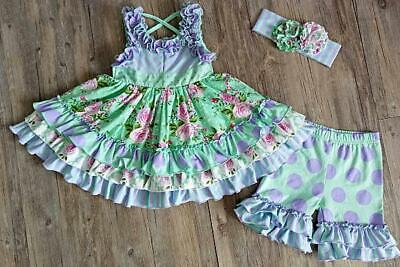 Serendipity Lavender Fields Ruffled Dress And Shorties