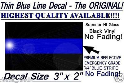 """Thin Blue Line Sticker Decal Police Support  FOP  3"""" x 2"""""""