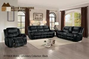 Black Leather Glider Recliner Set with Console on Sale (BD-2456)