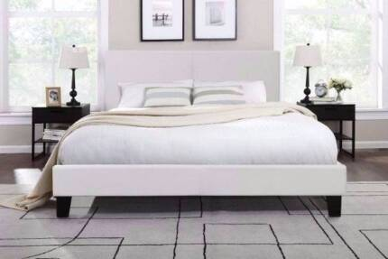 Brand new white leather queensize bed frame + used mattress, can