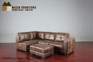 Brown Sectional in bomber jacket fabric (MA796)