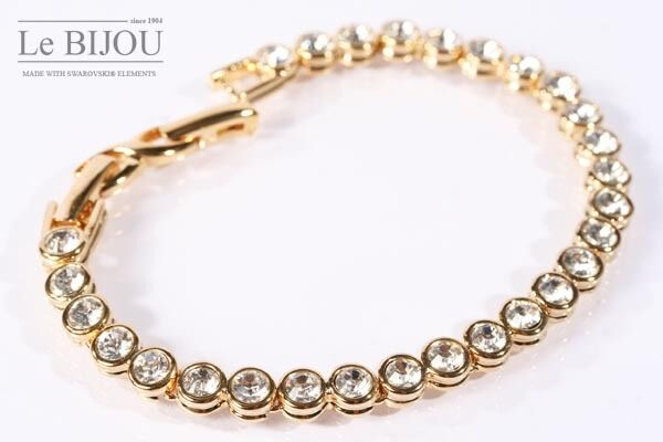 LeBijou vergoldetes Damen Tennis Armband mit Swarovski Elements